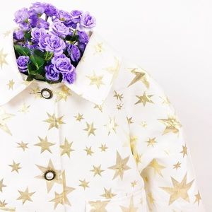 Sister Jane Gold Star Print Trucker Jacket